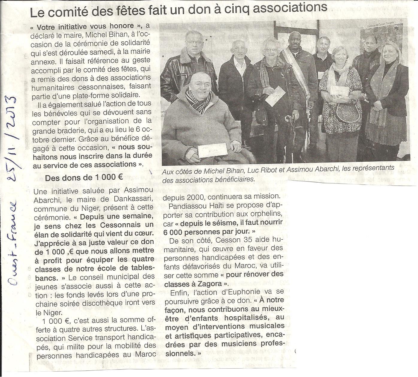 Don du Comité des Fêtes de Cesson-Sévigné