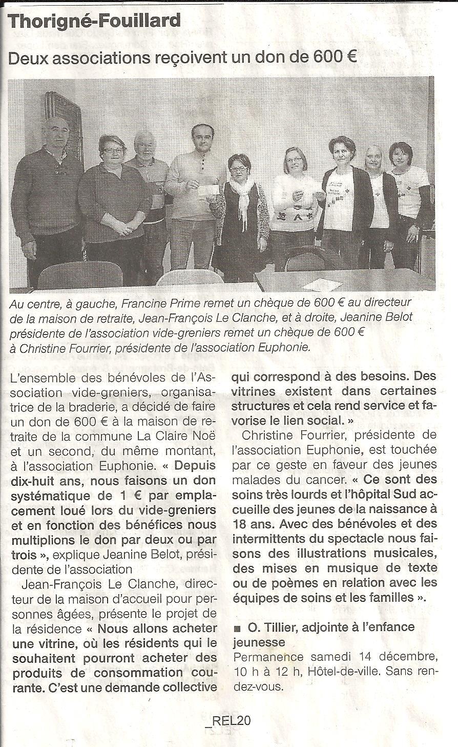 Don reçu de l'association vide-greniers de Thorigné-Fouillard