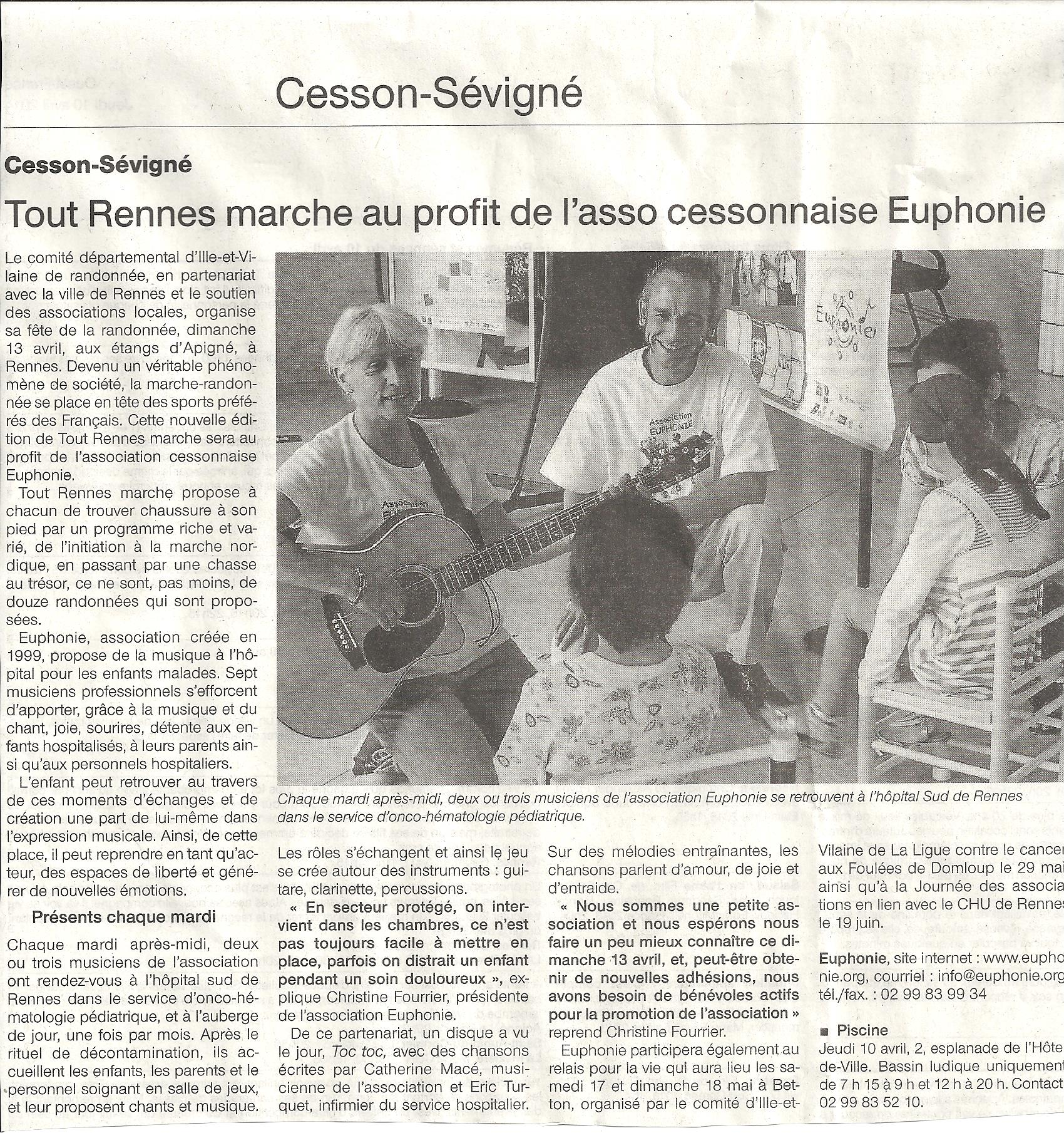 Article OUEST FRANCE du 10 avril 2014