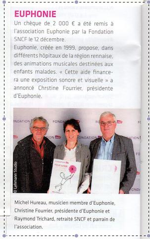 Remise d'un chèque de 2000 € par la fondation SNCF